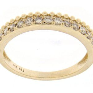 Solid Natural Diamond Wedding Band 14K Yellow Gold